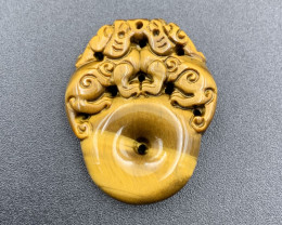 56.15 Cts Brilliant Quality Carving Tiger Eye. Te-050