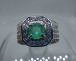 Stunning men's Colombian Muzo emerald sterling silver ring 0.50 CT