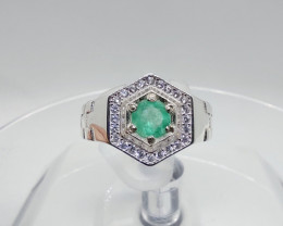 Men's Colombian Muzo Emerald sterling silver ring 0.50CT