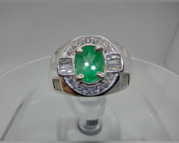 One of a kind men's Colombian Muzo emerald sterling silver ring