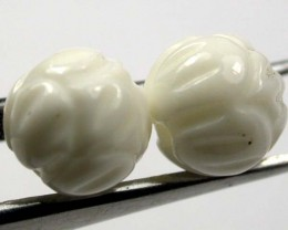 SHELL CARVED BEADS DRILLED  5 CTS    AS-2208