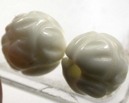 SHELL CARVED BEADS DRILLED  6 CTS    AS-2212