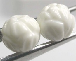SHELL CARVED BEADS DRILLED  5 CTS    AS-2222