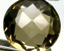 SMOKEY QUARTZ 9.55 CARAT WEIGHT ROUND CHECKERBOARD CUT GEM