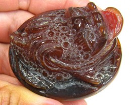 AGATE CHINESE GHOST CARVING   210 CARATS TR 590