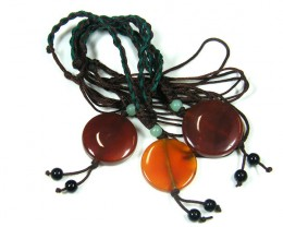 THREE TRIBAL AGATE NECKLACE   TR 677