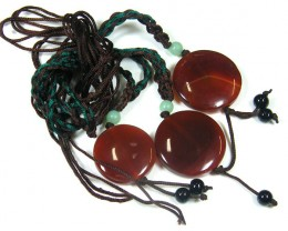 THREE TRIBAL AGATE NECKLACE   TR 678
