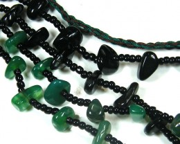 THREE TRIBAL AGATE NECKLACE S  TR 679