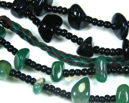 THREE TRIBAL AGATE NECKLACE S  TR 683
