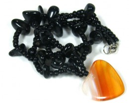 BLACK  TRIBAL AGATE NECKLACE   TR 689