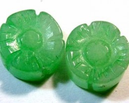 JADE CARVED FLOWER BEADS DRILLED 4 PCS 6.0 CTS NP-1095