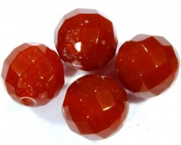 CARNELIAN FACETED BEADS (4 PCS) 10.3 CTS  NP-1075