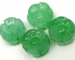 JADE CARVED FLOWER BEADS DRILLED 4 PCS 6.7 CTS NP-1182