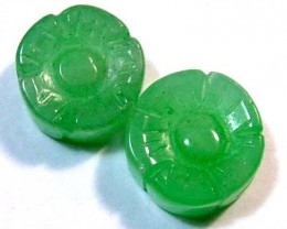 JADE CARVED FLOWER BEADS DRILLED 4 PCS 8.2 CTS  NP-1093