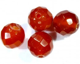 CARNELIAN FACETED BEADS (4 PCS) 11.5 CTS NP-1074