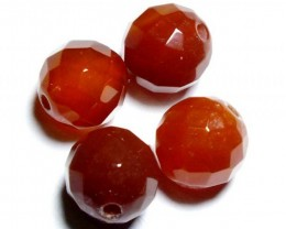 CARNELIAN FACETED BEADS (4 PCS) 10.2 CTS NP-1071
