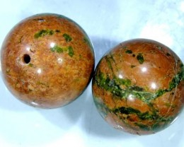 BEAUTIFUL UNAKITE STONE, DRILLED 2 PCS 42.8 CTS NP-1319