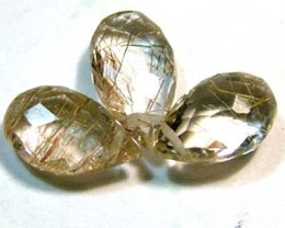 2.60 cts RUTILATED QUARTZ BRIOLETTE (3 PCS)  CG-817