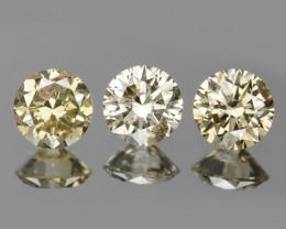 Diamond 0.24 Cts 3 Pcs Natural Fancy Brownish Yellow Color Diamond