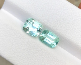 2.70 Carats Natural Sea Foam Color Tourmaline Cut Stone from Afghanistan