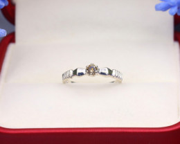 Champagne Diamond 0.99g Natural Untreated Fancy Diamond Silver Ring NXS92