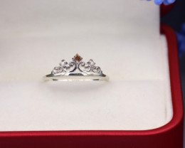 Champagne Diamond 1.02g Natural Untreated Fancy Diamond Silver Ring NXS126