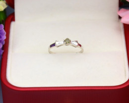 Yellow Diamond 0.85g Natural Untreated Yellow Diamond Silver Ring NXS88