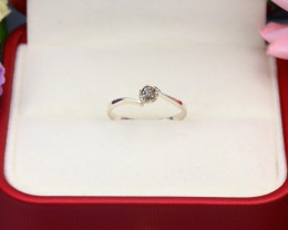 Orangy Yellow Diamond 0.90g Natural Untreated Diamond Silver Ring NXS93