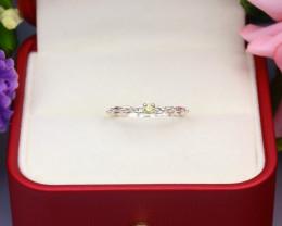 Yellow Diamond 1.00g Natural Untreated Yellow Diamond Silver Ring NXS99/1