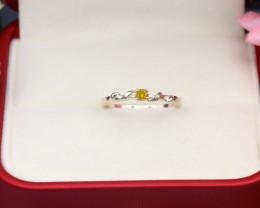 Intense Yellow Diamond 0.98g Natural Untreated Diamond Silver Ring NXS100