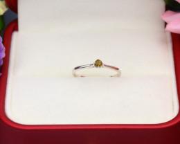 Intense Yellow Diamond 0.77g Natural Untreated Diamond Silver Ring NXS101