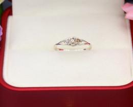 Orange Diamond 0.68g Natural Untreated Orange Diamond Silver Ring NXS139/2