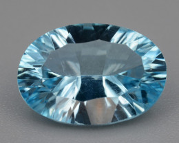 Natural Blue Topaz 3.98  Cts Concave Cut.