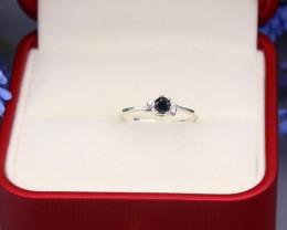 Black Diamond 1.01g Natural Untreated Black Diamond Silver Ring NXS33/1