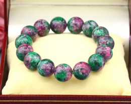 Ruby Zoisite 12mm Natural Ruby Zoisite Beads Bracelet C0934