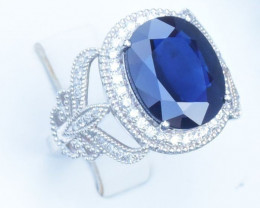 7.00ct NOT HEATED Sapphire and Diamonds Ring - 18K -  Certified by IGI - lo
