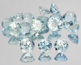 ~UNHEATED~ 3.50 Cts Natural Sparkling 4 mm Aquamarine 16 Pcs Round Cut Braz