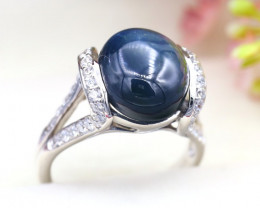 Star Sapphire 7.80Ct Natural 6Rays Blue Star Sapphire Silver Ring C2503
