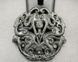 269 Cts  Excellent Hand Carved Old Black Jade.