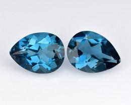 London Blue Topaz 2.67 Cts 2Pcs Rare Fancy Color Natural Gemstone- Pair