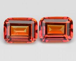 Mystic Topaz 5.85 Cts 2Pcs Orange Red Color Natural Gemstone- Pair
