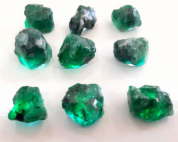 Rough Natural Emerald - Brazil - 9 Units - 144 cts