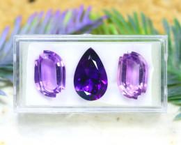 Amethyst 18.84Ct VVS 3Pcs Natural Uruguay Violet Amethyst B1503