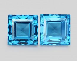 Swiss Blue Topaz 4.15 Cts 2Pcs Rare Fancy Natural Gemstone- Pair