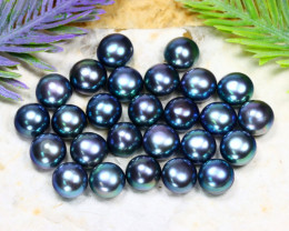 103.85Ct Natural Freshwater Half Dome Black Pearl Drilled A3005