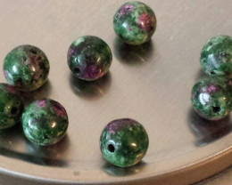 RUBY  ZOISITE BEADS WITH HOLES - 30.30 CTW 8 MM ROUND CUT