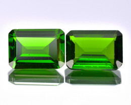 Chrome Diopside 1.30 Cts  2 Pcs Vivid Green Color Loose Gemstone- pair
