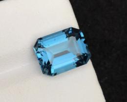 Emerald Cut Top Quality 7.05 ct London Blue Topaz