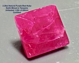 2.26ct Unheated  Ruby - Square / Tanzania 6.64x x5.94mm / Certified