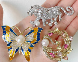 3 in 1 Wholesales Pearl Jewelry Brooch with Pin SB804